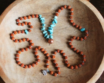 Rudraksha, Turquoise and Copper 108 mala OOAK For Friendship and Protection