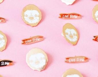 sloth pin set - live slow - meme enamel lapel pin - copper