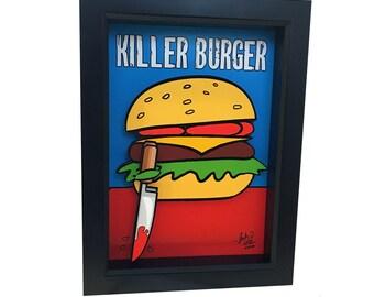 Hamburger Art Print Funny Kitchen Art Print 3D Art Killer Burger Funny Kitchen Decor 3D Pop Art Horror Art