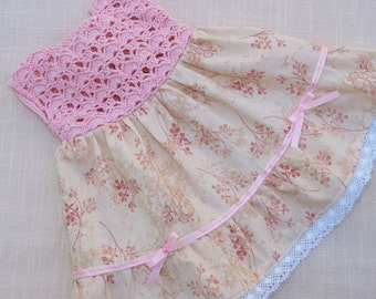 Waldorf Doll Clothes Pink Dolls Dress Cotton Crochet and cotton fabric dress,fits 18 - 20 inch dolls