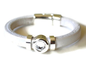 White Leather Bracelet with Sterling Silver Crystal, Spacers, and Magnetic Clasp