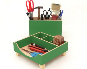 Green Desk Organizer, Green Desktop Organizer, Desktop Set, ,Wooden Desk set, Office Accessories, Pen holder, School kids desk, Tidy on Desk