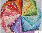 """Rainbow 5"""" Squares Charm Pack, 50 different pieces, 100% cotton, Quilt shop quality"""