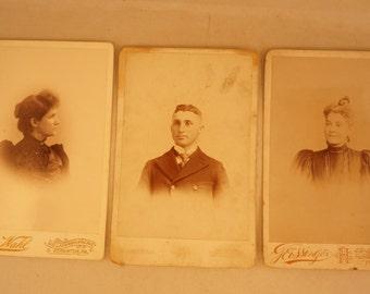 Three Vintage Victorian Portrait Cabinet Cards Antique Photographs
