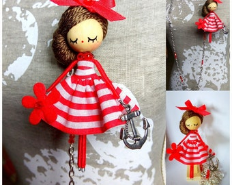 doll necklace and brooch doll OOAK