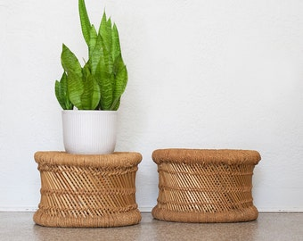 Vintage Bamboo Woven Rope Stools - Plant Stands