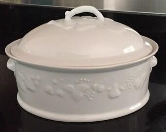 Deshoulieres Philippe White Lidded Casserole Dish/Limoges Porcelain/ Made in France/White Porcelain/Blanc de Blanc/  By Gatormom13