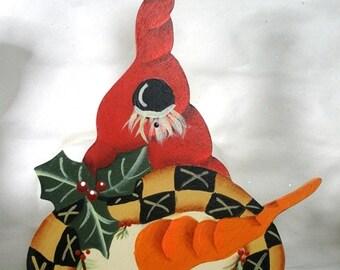 Tall Red Hat Snowman Ornament