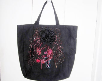 Huge Black  Face Purse Handbag Overnight Bag Embroidered and Beaded on Ultrasuede