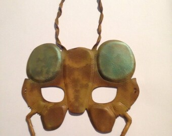 Leather BUG MASK, Grasshopper with Green Eyes, Absolutely Enchanting, for Parties or Decor