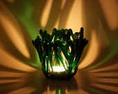 Candle Holder Green Fused Glass