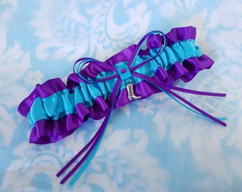 Wedding Garter SINGLE or SET, beautiful purple and turquoise blue satin  with cowboy boot - Gift Boxed