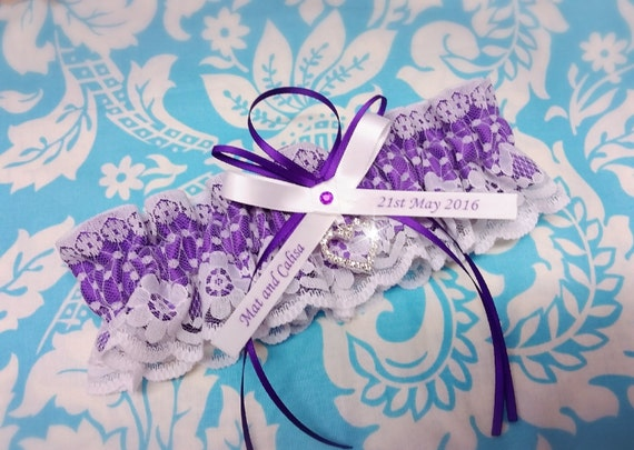 Purple  Wedding Garter , beautiful Personalized purple satin and Ivory (or white) Lace with heart - Gift boxed