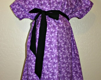 LINED K. Rose Maternity Hospital Gown -Purple and Lavender Butterflies - Lined in the Color of Your Choice- by Mommy Moxie