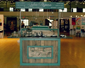 Rustic custom table up and over sign - farmhouse furniture - portable for display booth