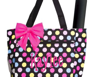 Personalized Black Multi-Colored Polka Dots Pattern Diaper Bag with Changing Pad