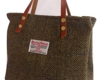 Harris tweed purse bag handbag green wool woman girl gift tartan made in Scotland plaid Scottish