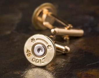Bullet Cufflinks, Starline 45 Colt Brass Bullet Cufflinks, Wedding Cufflinks, 45 Colt Cuff Links, Bullet Cuff Links, Groomsmen Gifts