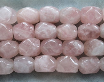 Chunky Natural Rose Quartz Cuboid Faceted Nugget Beads - Full Strand 14 Pcs