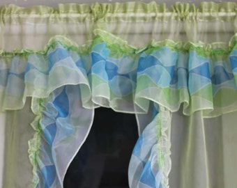 CAFE curtains with valance - WAVES - RUFFLES - 2 panels - lime green - turquoise - light blue
