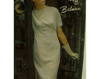 "Balmain 1960s Sheath Dress Pattern, Under the Bust Seam, Straight Skirt, Short Sleeves, Vogue Paris Original No. 1327 Size 10 (Bust 31""79cm)"