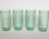 "Set of 4, 6 or 12 Vintage Anchor Hocking Light Green ""Sandstone Ridge"" Ribbed Large Iced Tea Glasses Tumblers 18 ounce Very Good Condition"