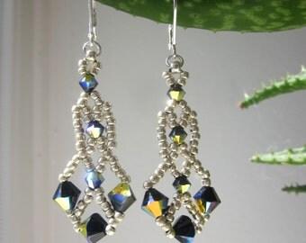 Black Crystal Earrings Woven Dangle Chandelier Swarovski Women Jewelry Gift