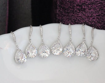 6 pairs of bridesmaid order cz earring 6 drop earring clear earring