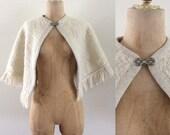 1960's White & Silver Fringe Shawl Vintage Evening Wear Size All Vintage Shawl Cape by Maeberry Vintage