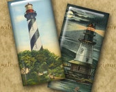 VINTAGE U.S. LIGHTHOUSES 1x2 inch Domino format - Digital Printable art collage sheet for making Jewelry Magnets Crafts