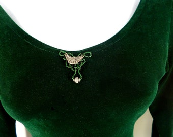 Emerald Green Bead Embellished Bodysuit Upcycled Victoria's Secret Size Small