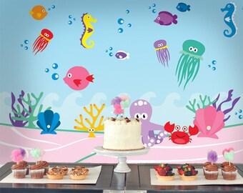 Sea Mermaid Printable Backdrop | Sea Mermaid Backdrop  |  Sea Mermaid INSTANT DOWNLOAD