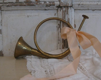 Vintage decorating brass musical instrument, Jeanne d'Arc, Christmas decorating, Shabby French farmhouse