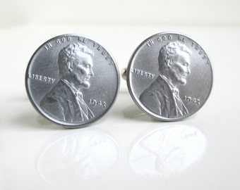 1943 Steel Penny Cuff Links - Lincoln Fronts, Repurposed Coins