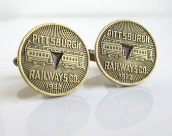 PITTSBURGH Railways Cuff Links - Gold, Vintage 1922 Transit Token / Coins