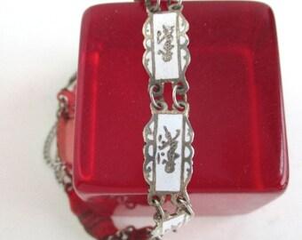 Siam Sterling Silver & White Bracelet - Niello Dancing Goddess w/ Safety Chain