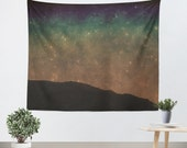 Art Tapestry Wall Hanging Star Light Modern Photography Unique home decor photo photograph stars shining black night dark blue green rust