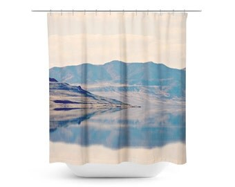Rustic Shower Curtain - Reflection Photo - Mountain Photograph - Home Decor - Neutral Photograph - Bathroom Decor - Tan and Navy