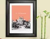 St. Petersburg #2 Skyline Poster - St. Petersburg Florida City Skyline - Art Print - 8 x 10 Choose Your Color