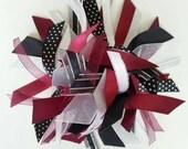 Burgundy, White, Silver, and Black Gymnastics / Sports Ribbon Ponytail Holder