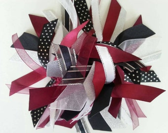 Burgundy, White, Silver, and Black Gymnastics / Sports Ribbon Ponytail Holder