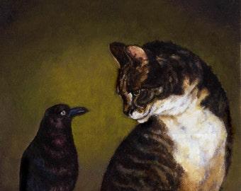 Cat and Bird Print, Cat Art, Pet Portrait, Classic Cat, Cat Lover Gift, Cat Owner Gift, Halloween Cat, Raven, Pet Portrait