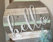 RESERVED Barnwood Round  { hello } Metal Home  Farmhouse Decor Sign Mint