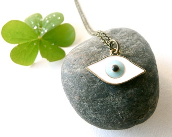 Evil eye necklace protection ( blue and white, magic, curse ) 01