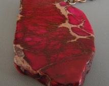 Copper Chain Dark Pink Red Dyed Jasper Necklace/ Dark Pink Red Pendant
