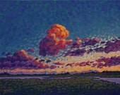 Original Acrylic Painting Florida Coastal Wetlands Pointillist 16x20 Art by Ed McCarthy
