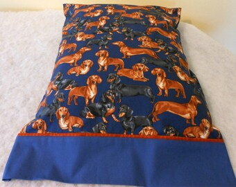 Pillow Case Dachshunds on Navy
