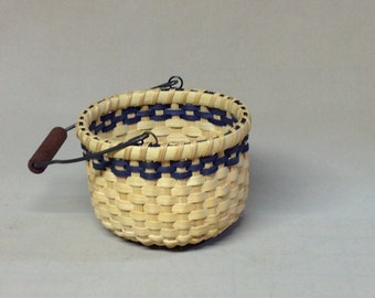 Cute Little Hand Woven Basket,  Painted Wood Base, Blue Accent at Top, with Wire and Wood Handle