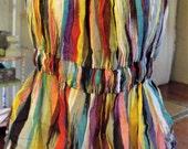 Gauzy Multi Stripe Adjustable Sun-Top/Summer Jeans Top/XL Cotton Peasant Style Top/Retro Top