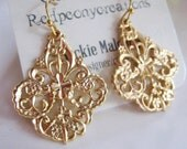 Ornate Gold Earrings, Gold Filigree, Scalloped Edged Earrings, Boho Dangles - Tribal Gold Earrings, Gold Moroccan filigre